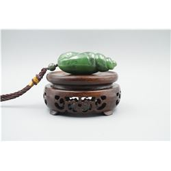 """A Canada Jade """"Lotus Leaf and Golden Toad"""" Pattern """"Shell"""" Shape Hand Piece."""