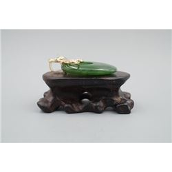 """A Canada Jade Oval Pendant Inlaid with a 925 Silver and Small Diamond """"Butterfly""""."""