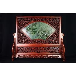 "A Canada Jade and Wood Carved Table Screen - ""Chun Xiao""."