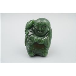 "A Canada BC Jade ""Laughing Buddha with Golden Toad"" Hand Piece."