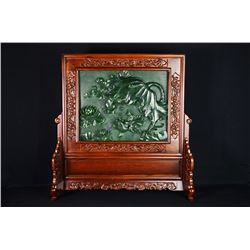 "A Canada Jade and Wood Carved Table Screen - ""Jin Yu Man Tang""."