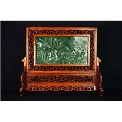 "A Canada Jade and Wood Carved Table Screen - ""He Tang Qing Qu""."