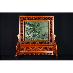 "A Canada Jade and Wood Carved Table Screen - ""Shuang Yu Xi Lian Jian""."