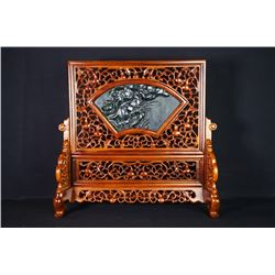"A Canada Jade and Wood Carved Table Screen - ""Yi Lu Lian Ge""."