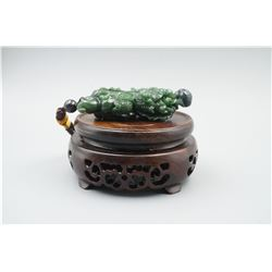 "A Canada Jade ""Chinese Cabbage and Golden Toad"" Pattern Hand Piece."