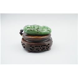 "A Large Canada Jade ""Dragon and Coin"" Pattern Hand Piece."
