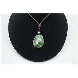 """A Canada Jade """"Goldern Toad"""" Pattern Pendant with String Necklace."""