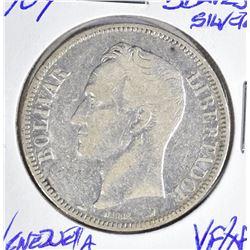 1904 SILVER 5 BOLIVARES VENEZUELA  CH.VF/XF