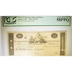 1810-20's $100.00 FARMERS & MERCHANTS BANK
