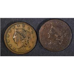 1830 FINE & 1834 VG LARGE CENTS
