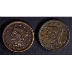 1845 & 1846 LARGE CENTS VF