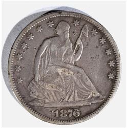 1876 SEATED HALF DOLLAR VF+