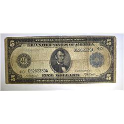 1914 $5.00 FEDERAL RESERVE NOTE, CIRC