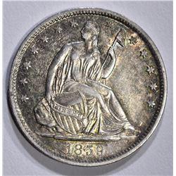 1859-O SEATED HALF DOLLAR, CH BU a few marks obv