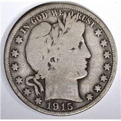 1915 BARBER HALF DOLLAR, VG KEY DATE