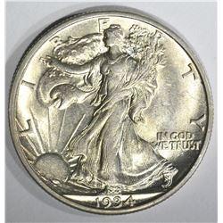 1934-S WALKING LIBERTY HALF DOLLAR, CH BU+