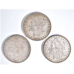 1881, 82-O & 83 BEAUTIFUL  CH AU MORGAN DOLLARS