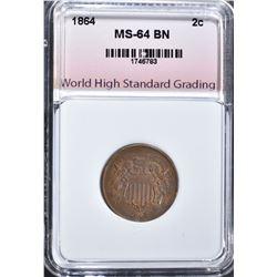 1864 2-CENT PIECE, WHSG CH/GEM BU BN