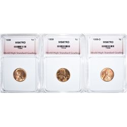 1938, 1939, 1939-D LINCOLN CENTS