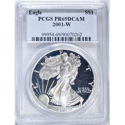 2001-W PROOF SILVER EAGLE PCGS PR-69 DCAM