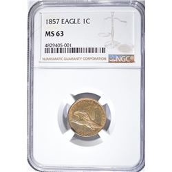 1857 FLYING EAGLE CENT NGC MS 63