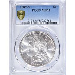 1889-S MORGAN DOLLAR PCGS MS65