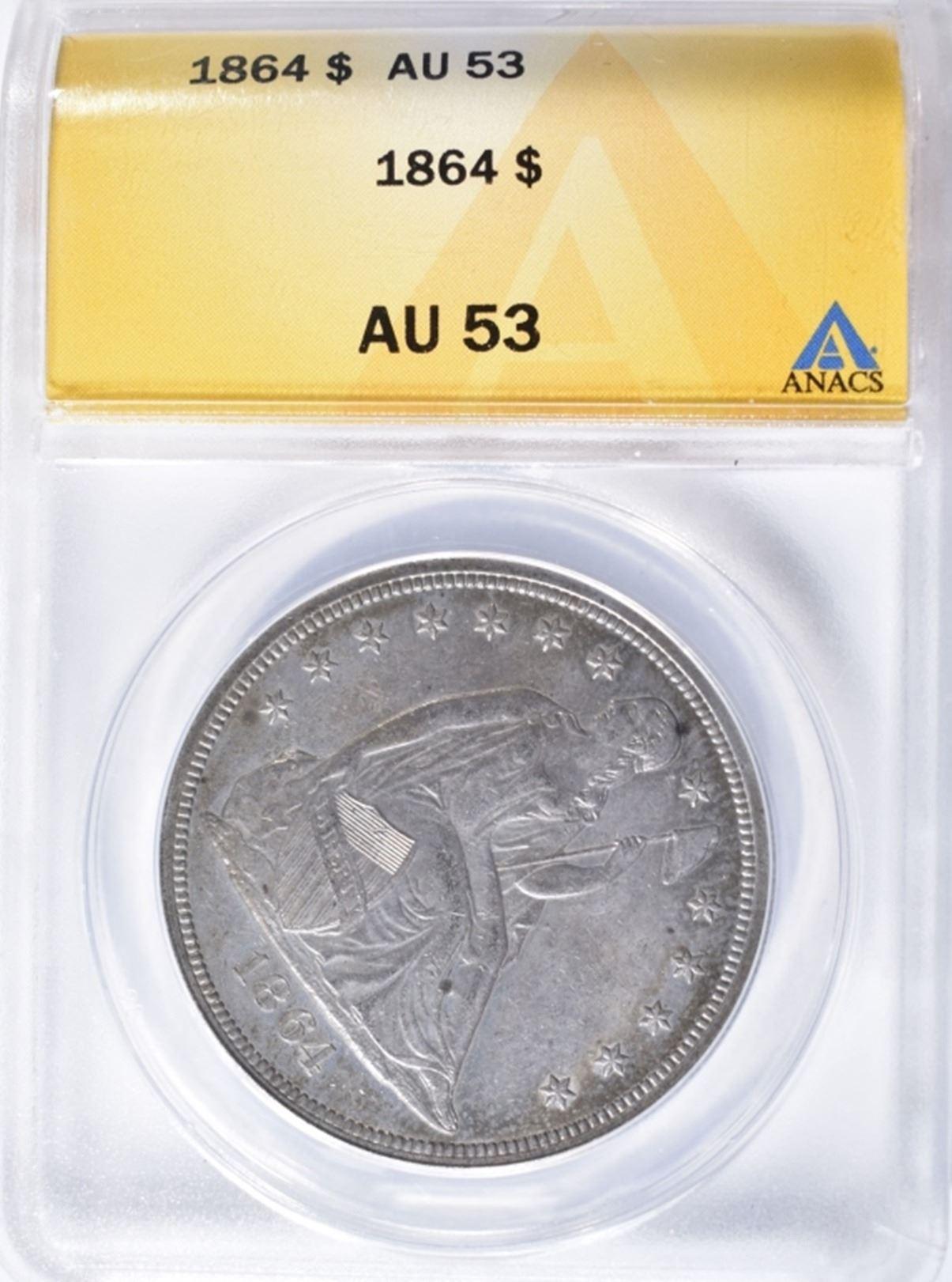 1864 SEATED LIBERTY DOLLAR ANACS AU 53
