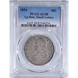 1834 BUST HALF DOLLAR PCGS AU-58