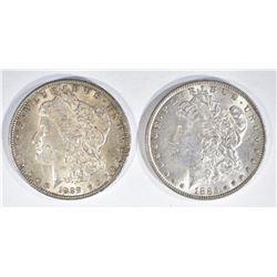 1885 & 1889 MORGAN DOLLARS  CH BU