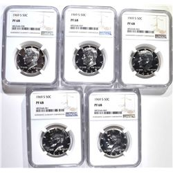 5 1969-S PROOF KENNEDY HALVES NGC PF-68