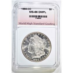1884-CC MORGAN DOLLAR, WHSG SUPERB GEM BU DMPL