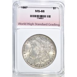 1887 MORGAN DOLLAR, WHSG SUPERB GEM BU