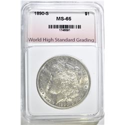 1890-S MORGAN DOLLAR, WHGS GEM BU