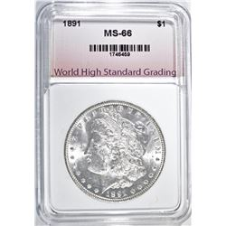 1891 MORGAN DOLLAR, WHSG SUPERB GEM BU