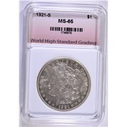 1921-S MORGAN DOLLAR, WHSG SUPERB GEM BU
