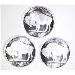 3-INDIAN/BUFFALO ONE OUNCE SILVER ROUNDS