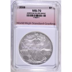 2008 AMERICAN SILVER EAGLE WHSG PERFECT GEM BU