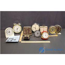 Lot of Desk Clocks and Alarm Clocks (10) (Westclox, Big Ben)