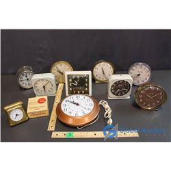Lot of Desk Clocks, Alarm Clocks and Wall Clock (10) (Westclox, Big Ben, Europa, etc)