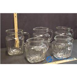 Lot of 5 Matching Glass Pitchers (2 Small, 3 Large)