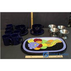 Ceramic Mug Set, (2) Large Coffee Mugs, Snow Cone Bowls, Placemats