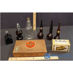 Lot of Cologne Bottles and Pandora Cigar Box