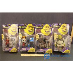 NIB Shrek Toys (4) (Shrek, Donkey, Lord Farquaad, Lord Farquaad Mascot)