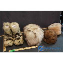 3 Fur Hats & Pair Makluk Boots Boy/Girl Size 10