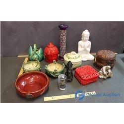 Lot of Incense Bowls/Burners, Aztec Statues, etc