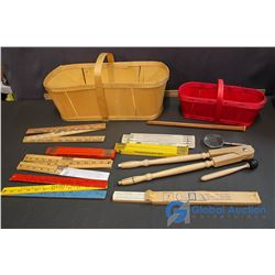 Lot of Vintage School Supplies and Vintage Baskets