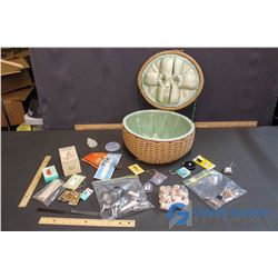 Vintage Sewing Basket and Supplies