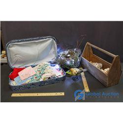 Misc Decor (Birds Nest, Shells, Handkerchiefs, Decorative Case)