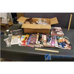 Box of Craft Containers & Related, Doll Collector Magazine and Teddy Bear Crafting Books
