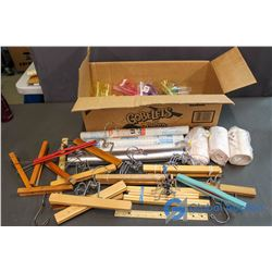 Box of Drawer Liners, Travel Containers, Wooden Hangers and Tensor Bandages